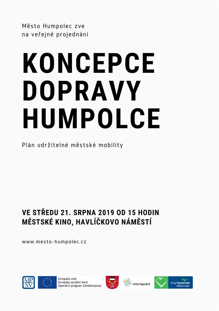 Pozvánka na veřejné projednání Koncepce dopravy Humpolce.