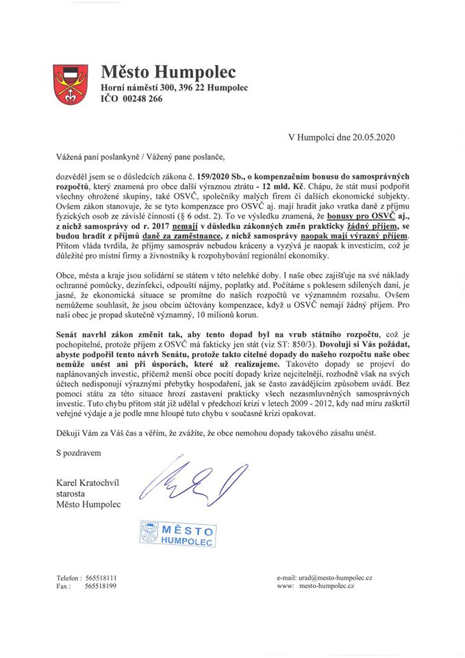 Dopis Karla Kratochvíla
